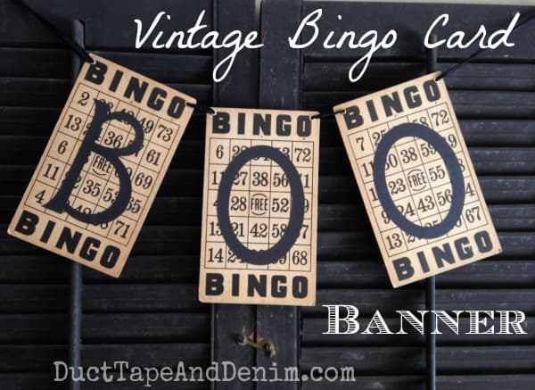 Vintage BINGO card BOO Banner. Simple Halloween craft Tutorials on DuctTapeAndDenim.com