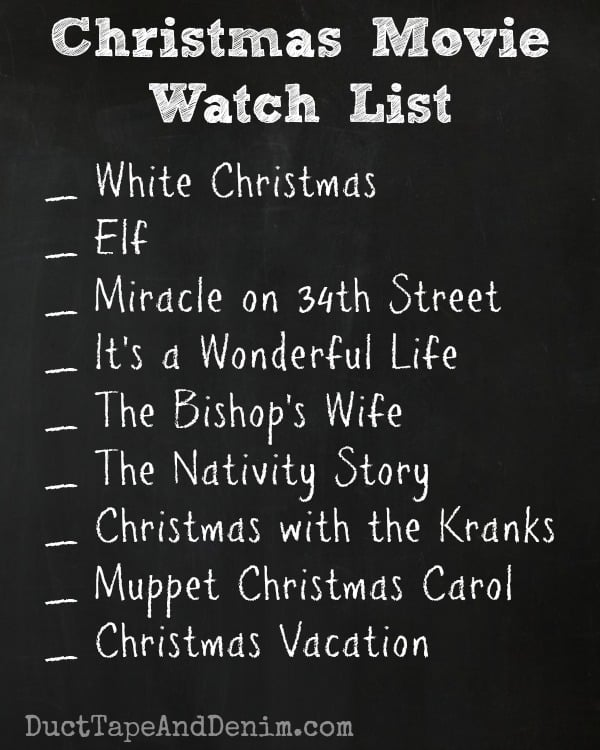 Christmas Movies Watching Checklist