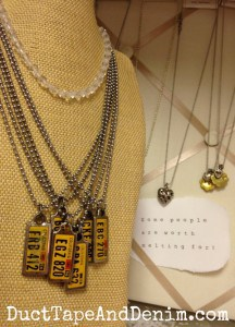 California Road Trip necklaces on my shelf at Room With a Past. | DuctTapeAndDenim.com