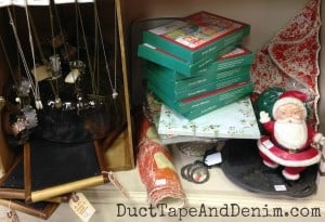 Christmas clearance section on my shelf at Room With a Past | DuctTapeAndDenim.com