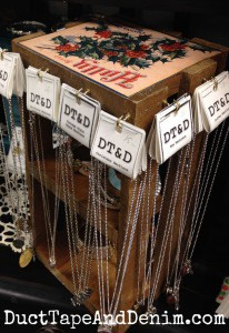 Christmas crate jewelry display on my shelf at Paris Flea Market | DuctTapeAndDenim.com
