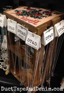Christmas crate jewelry display on my shelf at Paris Flea Market   DuctTapeAndDenim.com