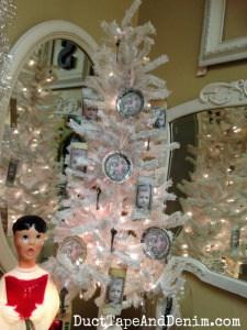 My vintage style handmade ornaments on Pam's Christmas tree at Paris Flea Market | DuctTapeAndDenim.com