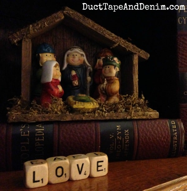 Nativity scene with vintage LOVE letter blocks. See my whole collection on DuctTapeAndDenim.com