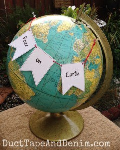 Peace on Earth Christmas banner globe | DuctTapeAndDenim.com