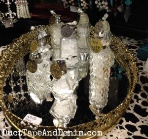 Vintage Salt Shaker Christmas Ornaments on my shelf at Paris Flea Market | DuctTapeAndDenim.com