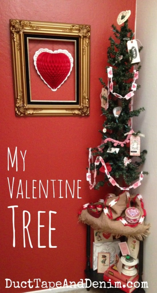 My Valentine tree with handmade decorations, garlands, banners, bunting. | DuctTapeAndDenim.com