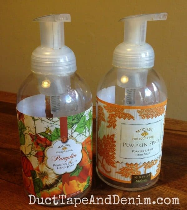 Pumpkin hand soap that I decorated for Valentine's Day and DIY wedding soap. | DuctTapeAndDenim.com
