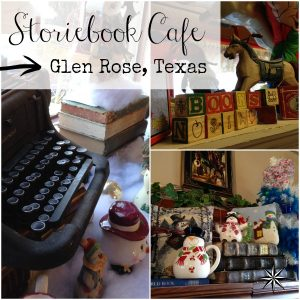 Storiebook Cafe collage of all my favorite things.  Vintage typewriters, books, and antiques. | DuctTapeAndDenim.com