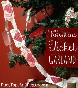 Valentine Ticket Banner - Garland or bunting decoration for your tree or mantle. | DuctTapeAndDenim.com