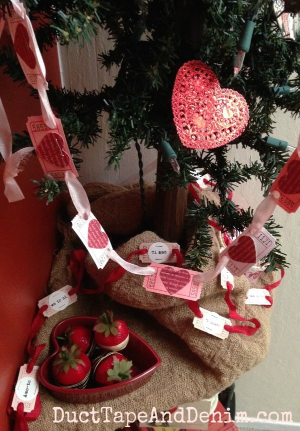 Valentine ticket banner on my tree ~ Valentine Tree ~ DuctTapeAndDenim.com