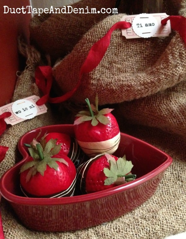 Valentine's Day decorations, chocolate covered strawberries ~ Valentine Tree ~ DuctTapeAndDenim.com