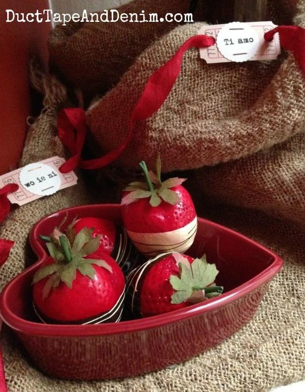 Valentine's Day decorations, chocolate covered strawberries ~ Valentine Tree ~ DuctTapeAndDenim.com