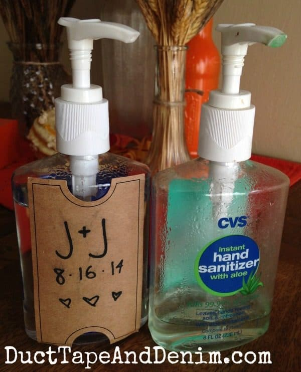 We even decorated hand sanitizer for the bathrooms at the wedding. DIY wedding soap | DuctTapeAndDenim.com