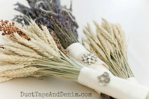 Wedding bouquets of lavender, wheat and natural grasses | DuctTapeAndDenim.com