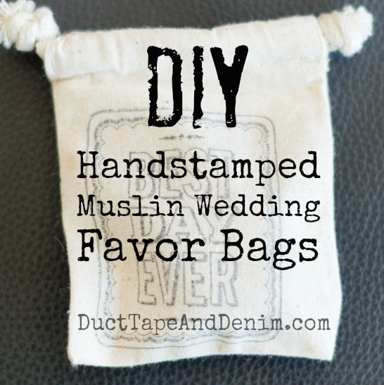DIY Handstamped Muslin Wedding Favor Bags
