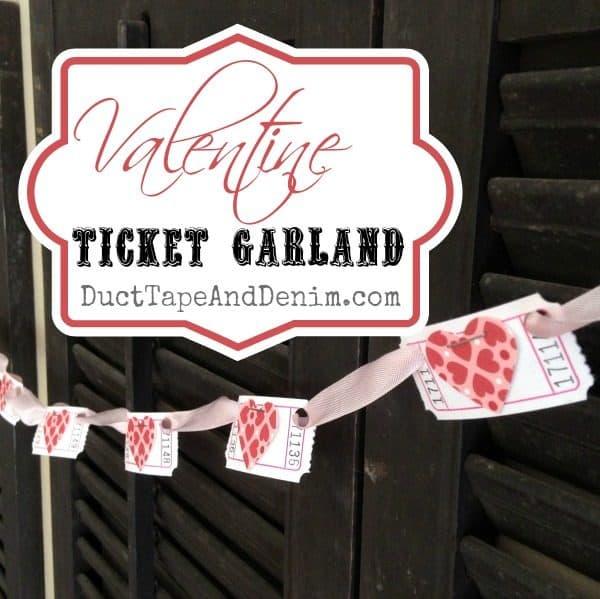 Valentine ticket garland | DuctTapeAndDenim.com