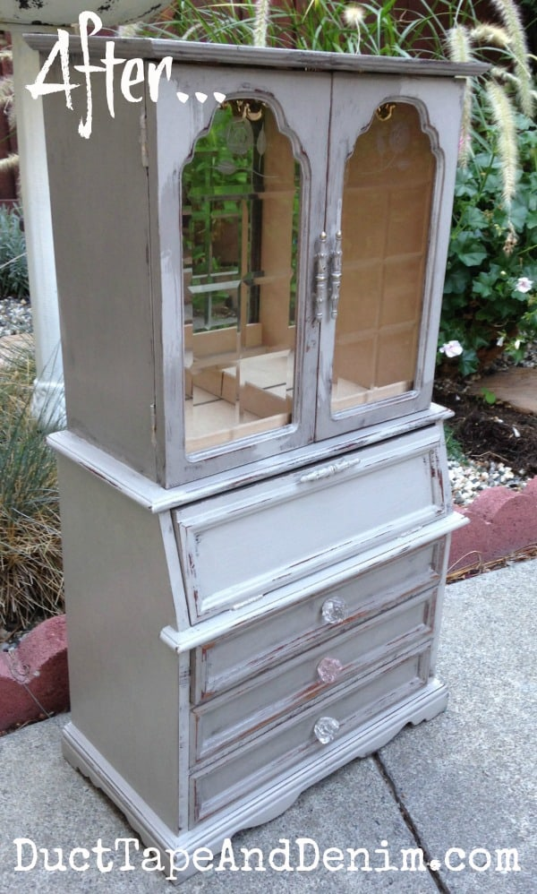 AFTER - My painted and refurbished jewelry cabinet | DuctTapeAndDenim.com