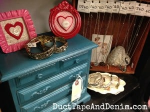 CeCe Caldwell's Thomasville Teal on a jewelry cabinet. My shelf at Paris Flea Market, Livermore, California | DuctTapeAndDenim.com