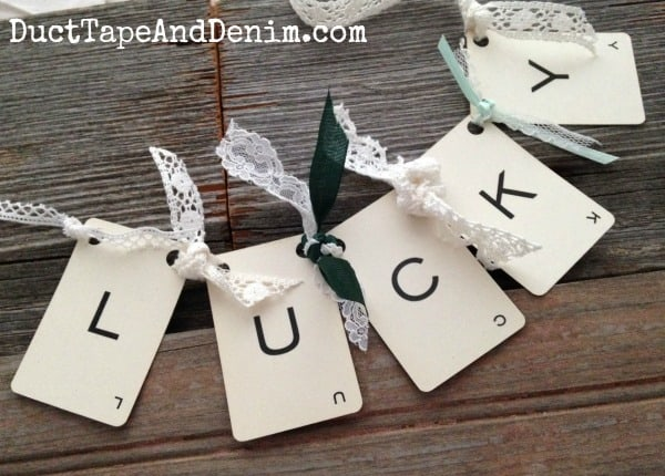 DIY Lucky vintage card garland for St Patricks Day