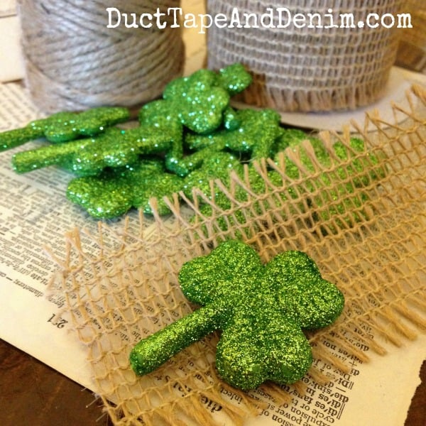 How to Make an Easy Glitter Shamrock Garland with Burlap Ribbon