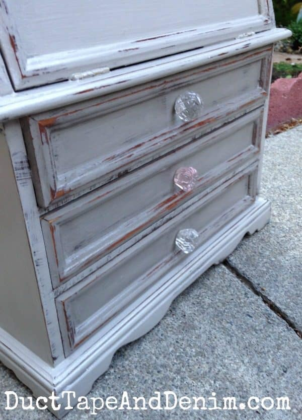 Details of my vintage jewelry cabinet painted with Cece Caldwell's Seattle Mist