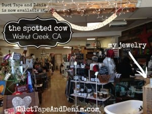 Duct Tape and Denim jewelry is now available at Spotted Cow Antiques Vintage Collectibles, Walnut Creek, California | DuctTapeAndDenim.com