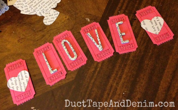 LOVE Valentine's Day ticket banner ~ Valentines Day Garland ~ DuctTapeAndDenim.com