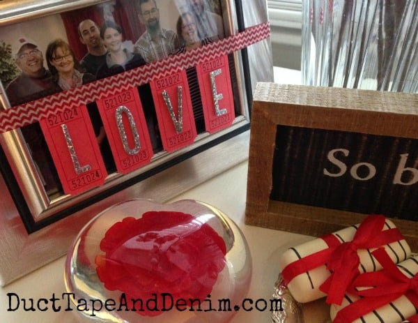 LOVE blank red ticket banner tutorial ~ Valentines Day garland ~ DuctTapeAndDenim.com