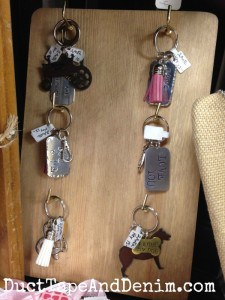 NEW! Hand-stamped key rings on my shelf at Paris Flea Market, Livermore, California | DuctTapeAndDenim.com