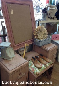 Painted pink vintage vanity, dressing table, at the Spotted Cow in Walnut Creek, California | DuctTapeAndDenim.com