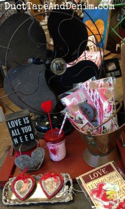 Vintage fan and valentines at the Spotted Cow in Walnut Creek, California | DuctTapeAndDenim.com