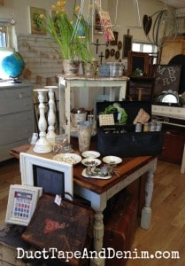 Vintage vignette, spring, antiques, at the Spotted Cow in Walnut Creek, California | DuctTapeAndDenim.com