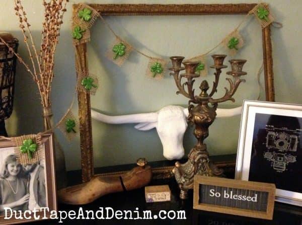 Vintage vignette with my glitter shamrock garland | DuctTapeAndDenim.com