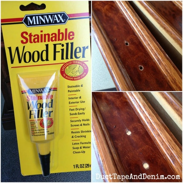 We used Minwax Stainable Wood Filler to fill in the holes where the old handles were | DuctTapeAndDenim.com