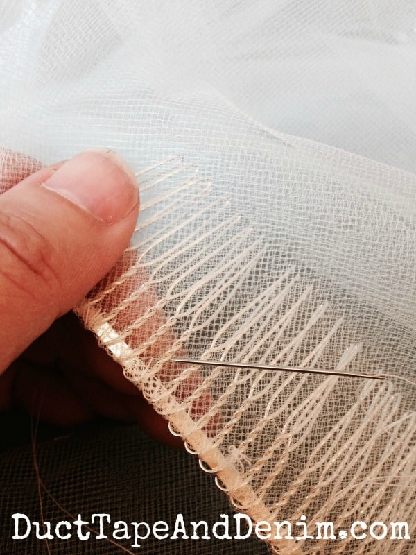 Close up of sewing the veil | DuctTapeAndDenim.com