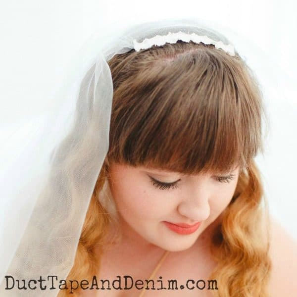 Close up of the vintage lace used in our DIY wedding veil   DuctTapeAndDenim.com