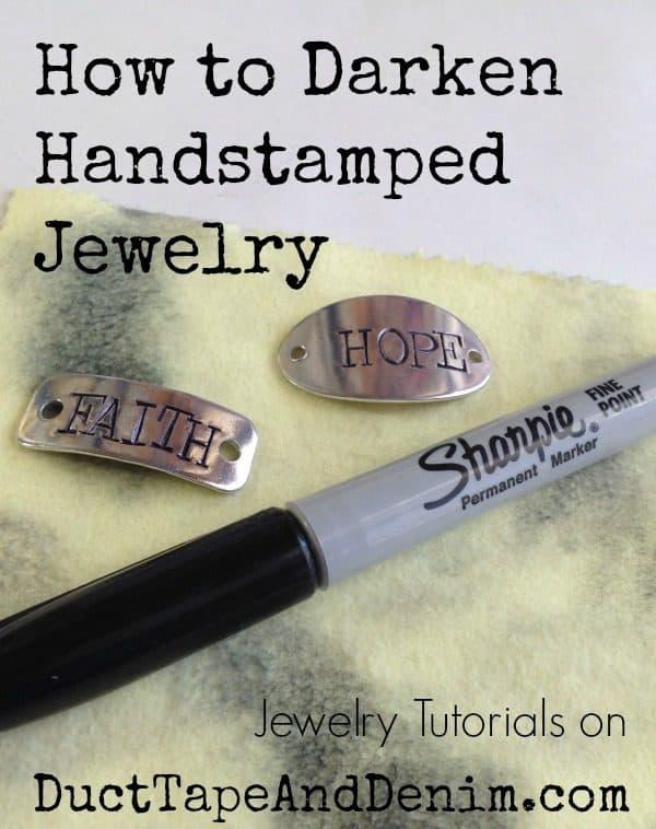 How to Darken Handstamped Jewelry and more VIDEO tutorials on DuctTapeAndDenim.com