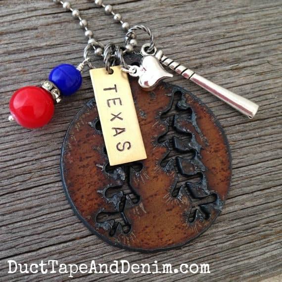 I Love Baseball Necklace for a Texas Rangers fan. | DuctTapeAndDenim.com