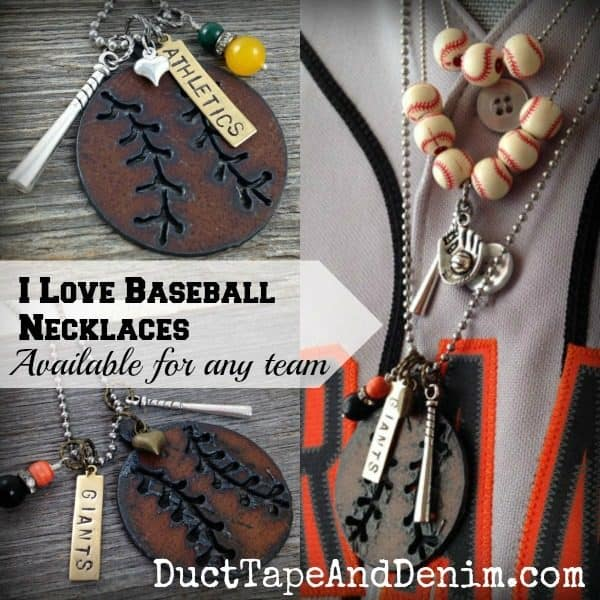 I Love Baseball necklace collage. Custom necklaces available for any team. | DuctTapeAndDenim.com