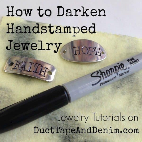 Jewelry tutorials on DuctTapeAndDenim.com How to darken handstamped jewelry