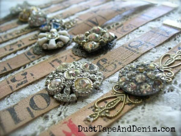 Tape measure bracelets with vintage rhinestone buttons | DuctTapeAndDenim.com