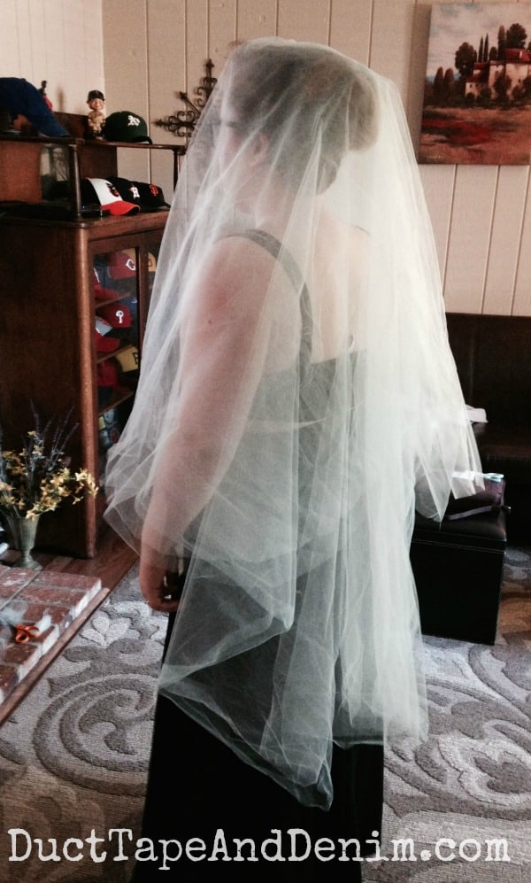 Trying on wedding veil for adjustments | DuctTapeAndDenim.com