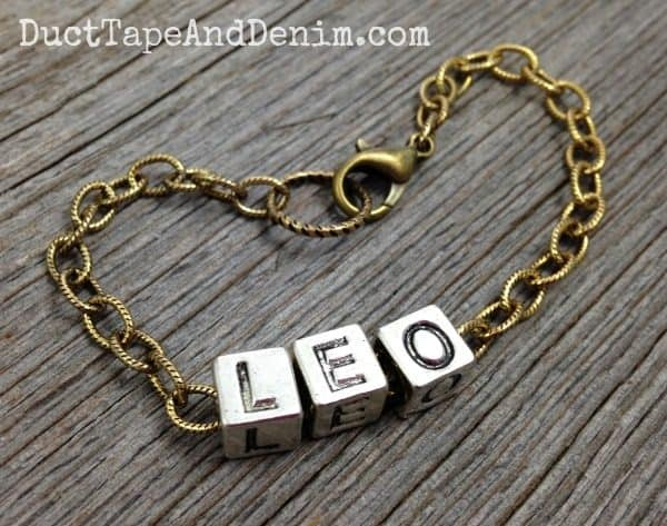 LEO Alphabet Block Letter Bracelet | DuctTapeAndDenim.com