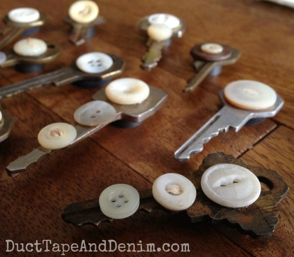 Repurposed vintage key and button magnet | DuctTapeAndDenim.com