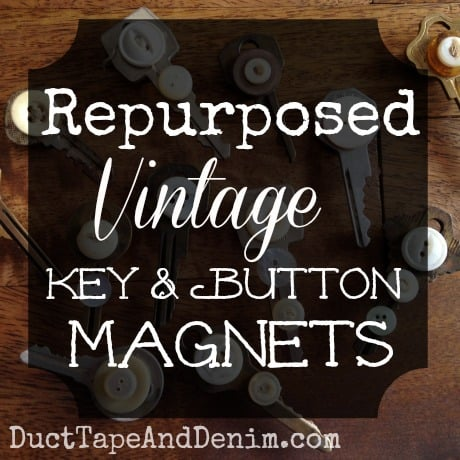 Repurposed vintage key and button magnet tutorial on DuctTapeAndDenim.com