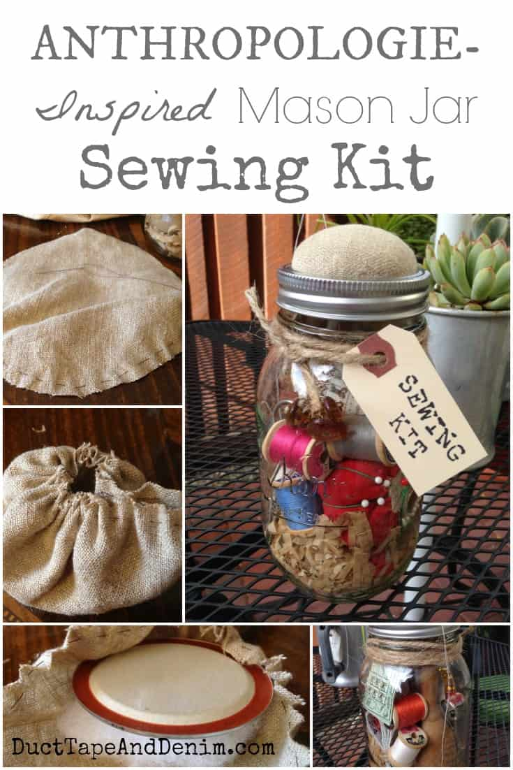 Anthropology Inspired Mason Jar Sewing Kit with vintage pattern shreds, scissors, tomato pin cushion, and more! | DuctTapeAndDenim.com