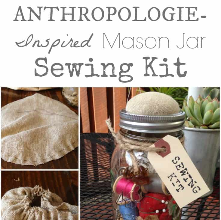Anthropology Inspired Mason Jar Sewing Kit with vintage scissors, thimble, patterns, and more | DuctTapeAndDenim.com
