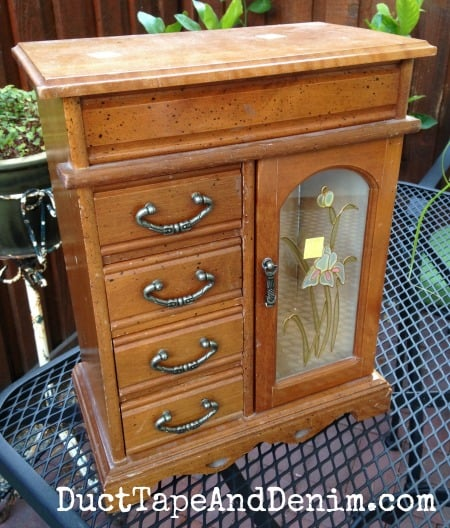 BEFORE I painted the jewelry cabinet from the thrift store. | DuctTapeAndDenim.com