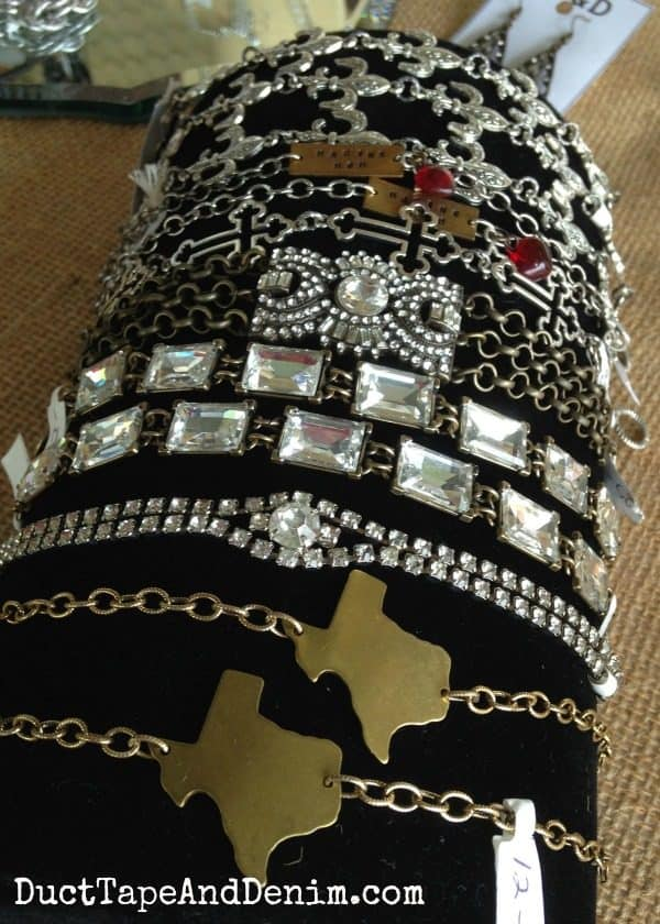 Bracelets in my booth at Antique Alley | DuctTapeAndDenim.com